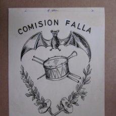 Arte: COMISION FALLA PADRE DOMENECH Y ADYACENTES. DIBUJO ORIGINAL IMPRENTA ORTEGA VALENCIA. Lote 72996071