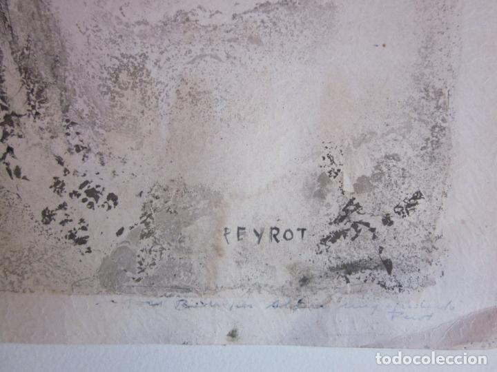 Arte: Antiguo dibujo o litografia a estudiar, firmada Peyrot - Foto 4 - 73169983