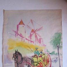 Arte: ANTIGUO DIBUJO FIRMADO TORRES, ORIGINAL, A ESTUDIAR. CARRETA Y MOLINOS.. Lote 73173871