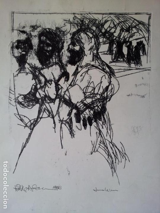 DIBUJO TECNICA MIXTA SOBRE CALCO..ESCUELA CATALANA 1966 FIRMA A ESCUDRIÑAR..INTERESANTE !!! (Arte - Dibujos - Contemporáneos siglo XX)