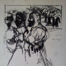 Arte: DIBUJO TECNICA MIXTA SOBRE CALCO..ESCUELA CATALANA 1966 FIRMA A ESCUDRIÑAR..INTERESANTE !!!. Lote 74077907