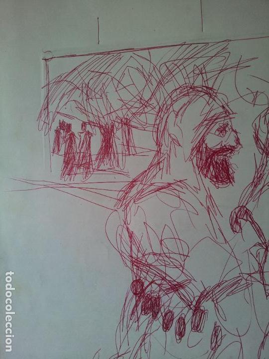 Arte: DIBUJO TECNICA MIXTA SOBRE CALCO..ESCUELA CATALANA 1966 FIRMA A ESCUDRIÑAR..INTERESANTE !!! - Foto 3 - 74077907