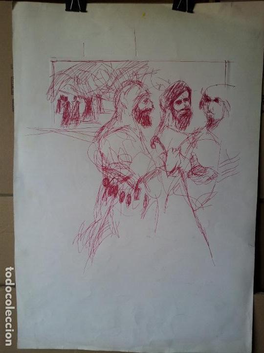 Arte: DIBUJO TECNICA MIXTA SOBRE CALCO..ESCUELA CATALANA 1966 FIRMA A ESCUDRIÑAR..INTERESANTE !!! - Foto 5 - 74077907