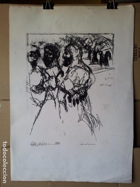 Arte: DIBUJO TECNICA MIXTA SOBRE CALCO..ESCUELA CATALANA 1966 FIRMA A ESCUDRIÑAR..INTERESANTE !!! - Foto 16 - 74077907