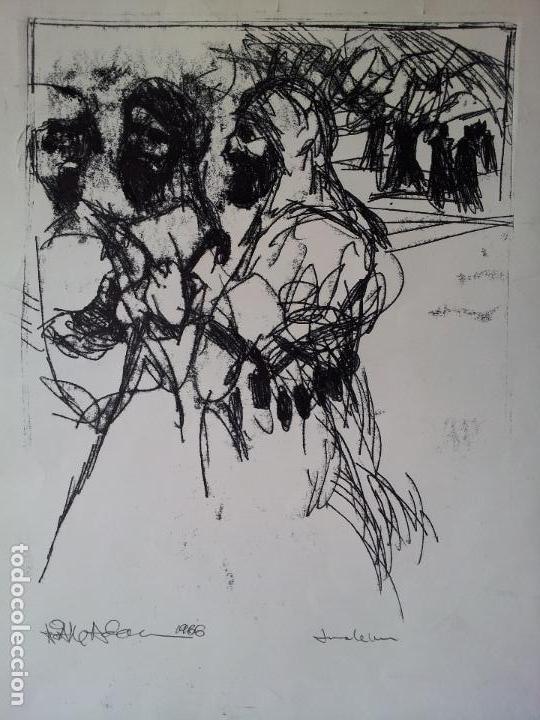 Arte: DIBUJO TECNICA MIXTA SOBRE CALCO..ESCUELA CATALANA 1966 FIRMA A ESCUDRIÑAR..INTERESANTE !!! - Foto 17 - 74077907