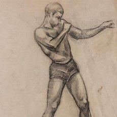 Arte: BOXEO - FEDERICO RIBAS MONTENEGRO - DIBUJO ORIGINAL - BOXEADOR - PUGIL - GAY. Lote 74388835