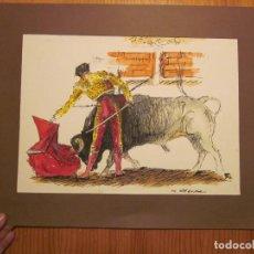 Arte: ANTIGUO DIBUJO ORIGINAL DE TORERO, FIRMADO SEGURA. A ESTUDIAR.. Lote 74592387