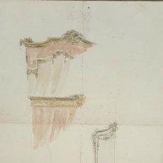 Arte: BOCETO DE MOBILIARIO. DIBUJO AL CARBON Y ACUARELA RIUS MASSAGUE. CIRCA 1940.. Lote 69597677