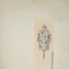 Arte: BOCETO DE PLAFON. DIBUJO AL CARBON Y ACUARELA. RIUS MASSAGUE. CIRCA 1940.. Lote 69599529