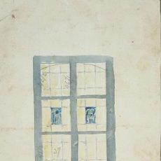 Arte: BOCETO DE VIDRIERA. DIBUJO AL CARBON Y ACUARELA. RIUS MASSAGUE. CIRCA 1940.. Lote 69604461