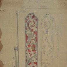 Arte: BOCETO DE TIRADOR PARA LIBRERIA. DIBUJO AL CARBON Y AUARELA. RIUS MASSAGUE. CIRCA 1940.. Lote 69610397