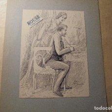 Arte: JOSE CUCHY ARNAU - ARECIBO ( PUERTO RICO ) 1857 BARCELONA 1925 DIBUJO A PLUMA ORIGINAL - 18X13,5 CM . Lote 74875507