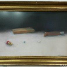 Arte: PRECIOSO DIBUJO SOBRE PESCA A PASTEL Y CARBONCILLO B. GUTJAHR. Lote 58145735