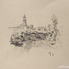 Arte: ESCUELA CATALANA CARBONCILLO/PAPEL 18 X 12,5 CM. PAISAJE SAN VICENS 1891.. Lote 75668891