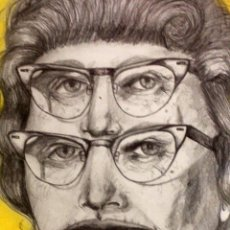 Dibujo surrealista realizado con lapiz, boli y pastel, firmado Lolaila Carmona, 37x43cm (con marco)