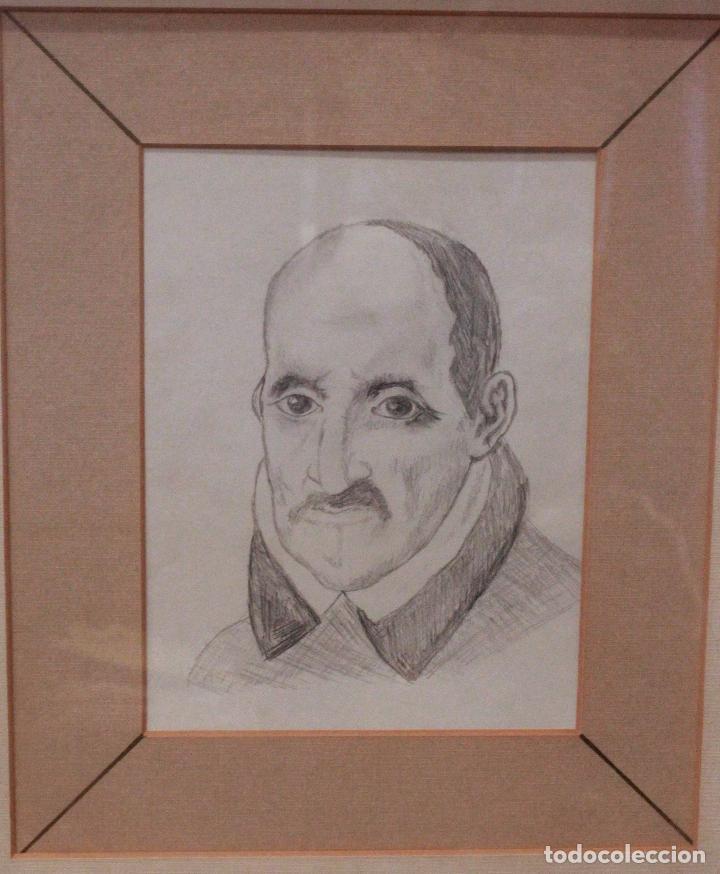 DIBUJO A LÁPIZ, RETRATO DE GÓNGORA, 43X37CM (MEDIDAS ENMARCADO) (Arte - Dibujos - Contemporáneos siglo XX)