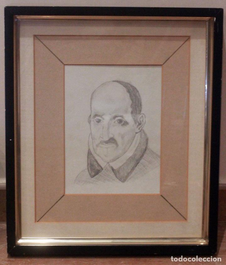 Arte: Dibujo a lápiz, retrato de Góngora, 43x37cm (medidas enmarcado) - Foto 2 - 75979815