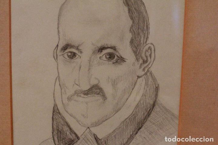Arte: Dibujo a lápiz, retrato de Góngora, 43x37cm (medidas enmarcado) - Foto 3 - 75979815