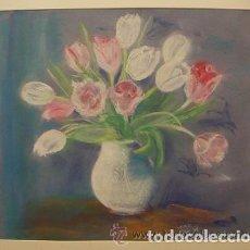 Arte: DIBUJO DE FLORES AL PASTEL FIRMADA WOOD 88. Lote 76052783