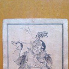 Arte: DIBUJO PERSA, TINTA Y AGUADA SOBRE PAPEL. S.XIX. JINETE PERSA A CAMELLO. Lote 76439615