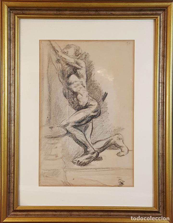 I1-034. HOMBRE DESNUDO. DIBUJO AL CARBON. FRANCISCO GIMENO ARASA. SIGLO XIX. (Arte - Dibujos - Modernos siglo XIX)
