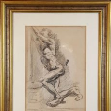 Arte: I1-034. HOMBRE DESNUDO. DIBUJO AL CARBON. FRANCISCO GIMENO ARASA. SIGLO XIX. . Lote 76593483