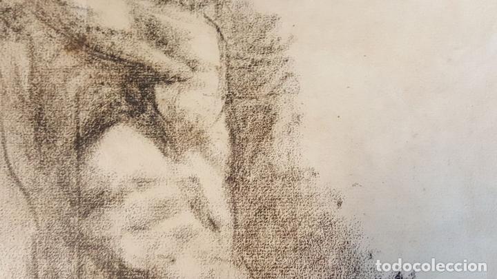 Arte: I1-034. HOMBRE DESNUDO. DIBUJO AL CARBON. FRANCISCO GIMENO ARASA. SIGLO XIX. - Foto 2 - 76593483