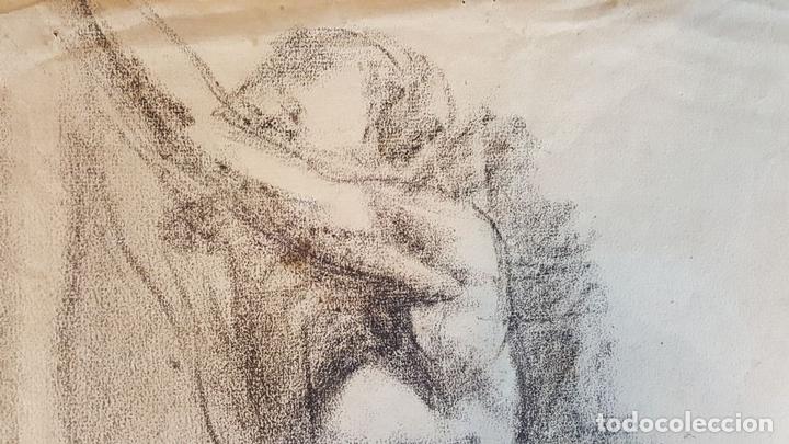 Arte: I1-034. HOMBRE DESNUDO. DIBUJO AL CARBON. FRANCISCO GIMENO ARASA. SIGLO XIX. - Foto 3 - 76593483