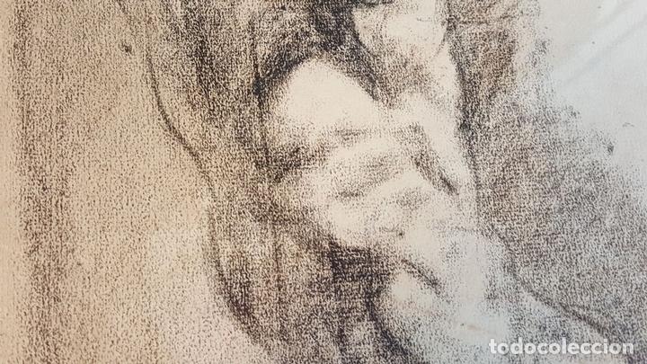 Arte: I1-034. HOMBRE DESNUDO. DIBUJO AL CARBON. FRANCISCO GIMENO ARASA. SIGLO XIX. - Foto 6 - 76593483