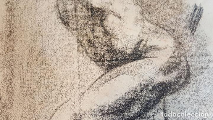 Arte: I1-034. HOMBRE DESNUDO. DIBUJO AL CARBON. FRANCISCO GIMENO ARASA. SIGLO XIX. - Foto 12 - 76593483