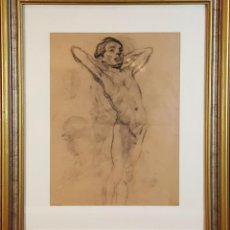 Arte: I1-035. JOVEN. DIBUJO AL CARBON. FRANCISCO GIMENO ARASA. SIGLO XIX.. Lote 76600551