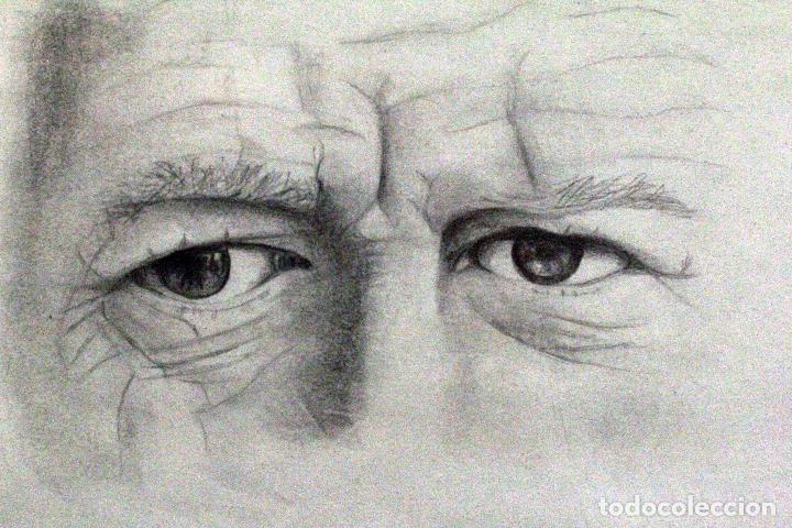 dibujo a lapiz, ojos, mirada, con marco dorado. - Comprar Dibujos ...