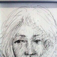 Arte: DIBUJO A LAPIZ, RETRATO FEMENINO, ENMARCADO. S.XX. Lote 76855219