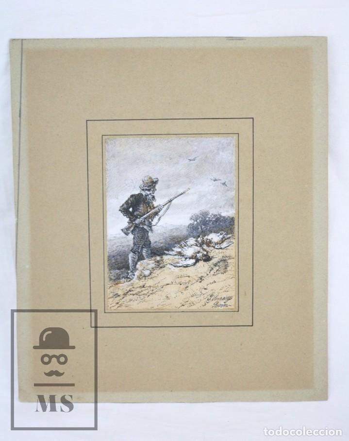 ANTIGUO DIBUJO ORIGINAL DE JOSÉ / JOSEP SERRA PORSÓN - EL CAZADOR - FIRMADO - MEDIADOS SIGLO XIX (Arte - Dibujos - Modernos siglo XIX)