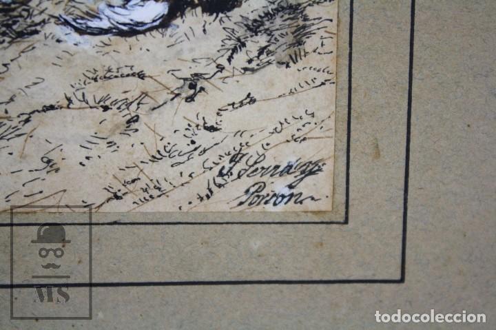 Arte: Antiguo Dibujo Original de José / Josep Serra Porsón - El Cazador - Firmado - Mediados Siglo XIX - Foto 3 - 76860679