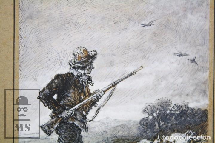 Arte: Antiguo Dibujo Original de José / Josep Serra Porsón - El Cazador - Firmado - Mediados Siglo XIX - Foto 4 - 76860679