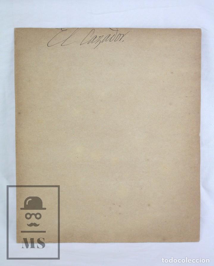 Arte: Antiguo Dibujo Original de José / Josep Serra Porsón - El Cazador - Firmado - Mediados Siglo XIX - Foto 5 - 76860679