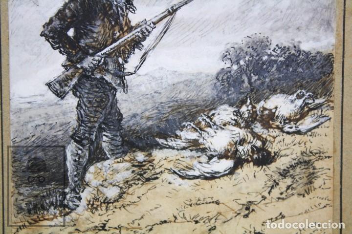 Arte: Antiguo Dibujo Original de José / Josep Serra Porsón - El Cazador - Firmado - Mediados Siglo XIX - Foto 6 - 76860679