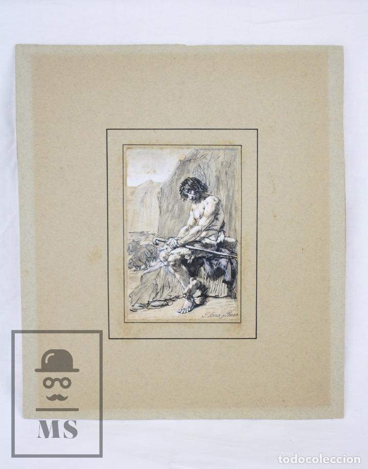 ANTIGUO DIBUJO ORIGINAL DE JOSÉ / JOSEP SERRA PORSÓN - EL HIJO PRÓDIGO - FIRMADO -MEDIADOS SIGLO XIX (Arte - Dibujos - Modernos siglo XIX)