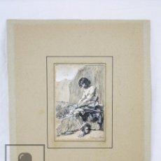 Arte: ANTIGUO DIBUJO ORIGINAL DE JOSÉ / JOSEP SERRA PORSÓN - EL HIJO PRÓDIGO - FIRMADO -MEDIADOS SIGLO XIX. Lote 76860779