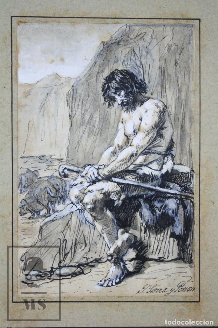 Arte: Antiguo Dibujo Original de José / Josep Serra Porsón - El Hijo Pródigo - Firmado -Mediados Siglo XIX - Foto 2 - 76860779