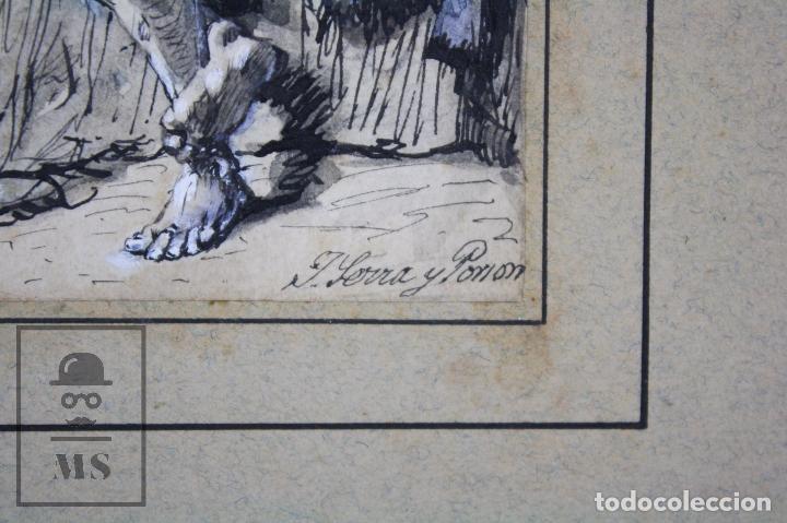 Arte: Antiguo Dibujo Original de José / Josep Serra Porsón - El Hijo Pródigo - Firmado -Mediados Siglo XIX - Foto 3 - 76860779