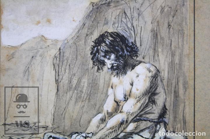 Arte: Antiguo Dibujo Original de José / Josep Serra Porsón - El Hijo Pródigo - Firmado -Mediados Siglo XIX - Foto 4 - 76860779