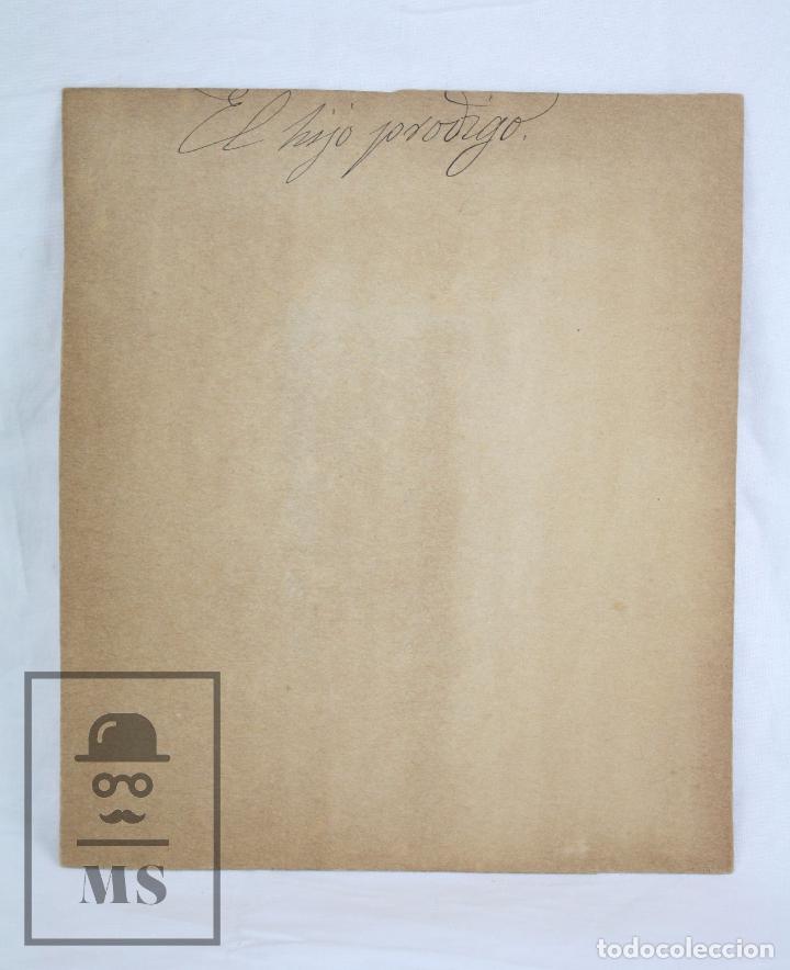 Arte: Antiguo Dibujo Original de José / Josep Serra Porsón - El Hijo Pródigo - Firmado -Mediados Siglo XIX - Foto 5 - 76860779