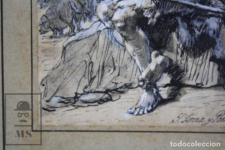 Arte: Antiguo Dibujo Original de José / Josep Serra Porsón - El Hijo Pródigo - Firmado -Mediados Siglo XIX - Foto 6 - 76860779
