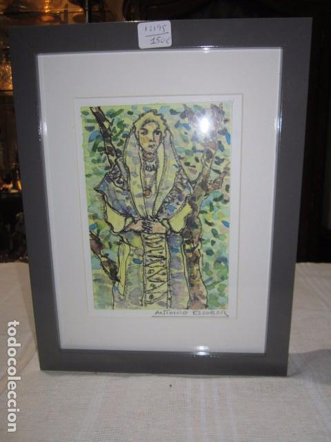 Antonio Escobar. Dibujo original Enmarcado. Marco: 20 x 26,5 cms. Mancha: 11 x 16 cms.