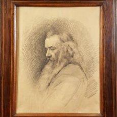 Arte: RETRATO. DIBUJO AL CARBON SOBRE PAPEL. ANONIMO. SIGLO XIX. . Lote 77312009