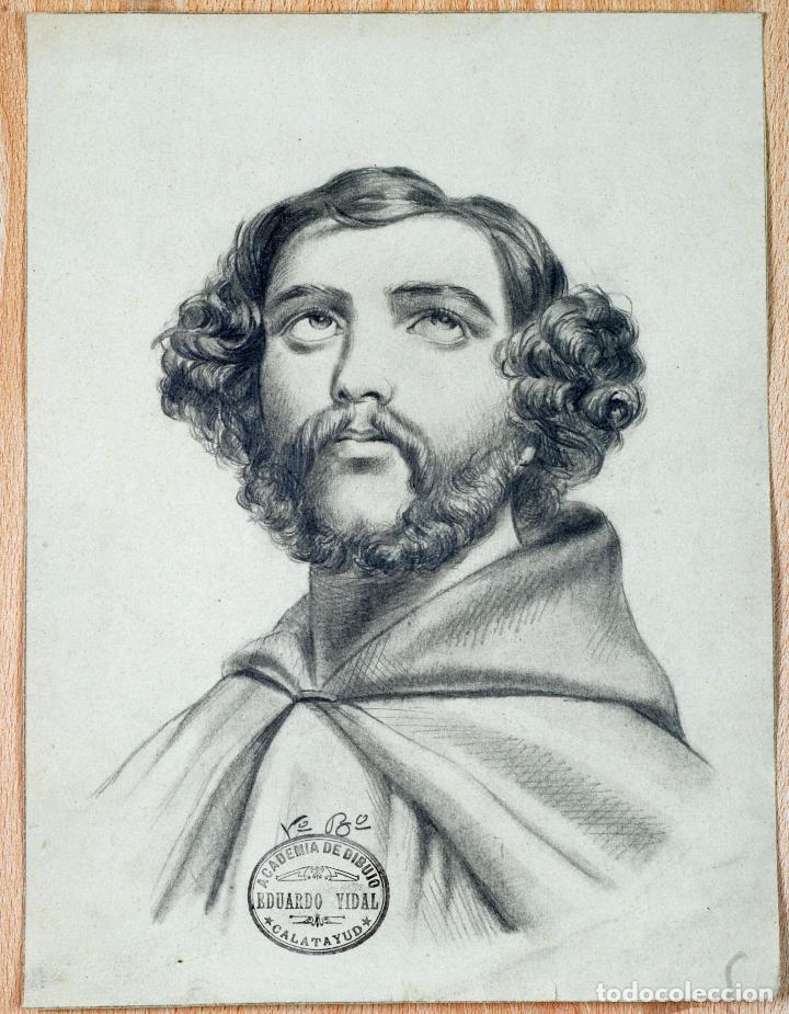 DIBUJO LÁPIZ PAPEL RETRATO CABALLERO FIRMADO MIGUEL OÑATE SELLO ACADEMIA EDUARDO VIDAL CALATAYUD XIX (Arte - Dibujos - Modernos siglo XIX)