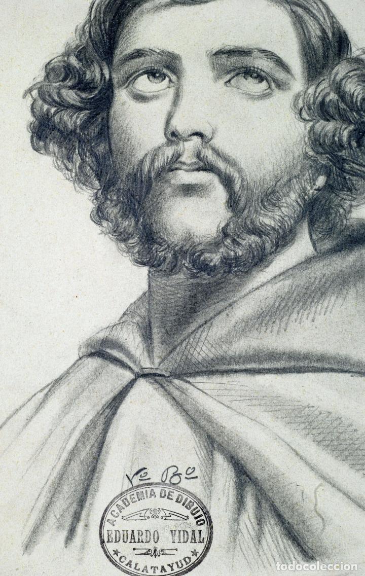 Arte: Dibujo lápiz papel Retrato caballero Firmado Miguel Oñate Sello Academia Eduardo Vidal Calatayud XIX - Foto 2 - 77323433
