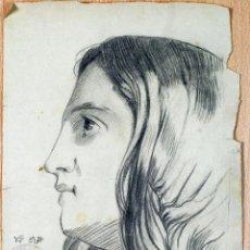 Arte: DIBUJO LÁPIZ PAPEL RETRATO MUJER FIRMADO MIGUEL OÑATE SELLO ACADEMIA EDUARDO VIDAL CALATAYUD XIX. Lote 77323717